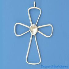 LARGE OPEN CROSS OUTLINE .925 Solid Sterling Silver Pendant MADE IN USA
