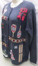The Quacker Factory Winter Cardigan Christmas Sweater S Small Ski Skate Sled