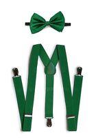 7fb0123a2ac Popular Solid Men Women Clip-on Suspender + Bow-Tie Combo Adjustable Dark  Green