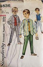 Vtg Simplicity 4836 Boy's lined Jacket, Vest & Pants size 5 uncut chest 23-1/2