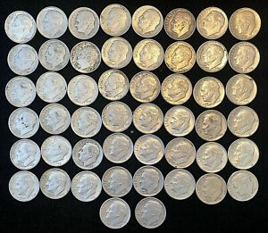Roll Of (50) Silver Roosevelt Dimes NO RESERVE AUCTION.