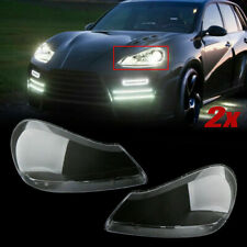 Right+Left Headlight Lens Cover Transparent Shell For Porsche Cayenne 2008-2010