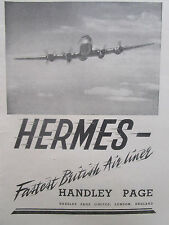 10/1946 PUB HANDLEY PAGE HERMES AIRLINER AIRLINES / BEA AIRWAYS ORIGINAL AD