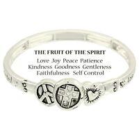 Fruit of the Spirit Bracelet Stretch Love Joy Religious SILVER Bible Verse Faith