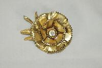 Vintage Large Aurora Borealis Rhinestone Gold Tone Flower Blossom Pin Brooch