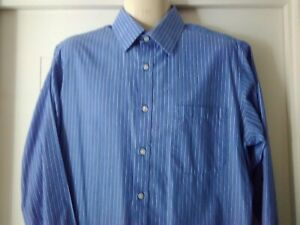 2 X Marks & Spencer Business Shirts, Blue/White Pinstripes, 39/40, Long Sleeves