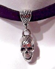 REALISTIC HUMAN SKULL FAUX SUEDE CHOKER antiqued silver gothic punk pirate S6