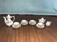 13 pc Vintage MINI TEA SET JAPAN Flower Porcelain  TEAPOT CUP SAUCER CREAM SUGAR