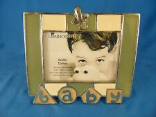 "Picture frame BABY ceramic 3 1/2"" x 5"" table top green cream colors Connoisseur"