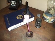 Feather Quill Pen, Calligraphy Quill Black and Pink with Stand Fa9