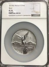 2017 Mexico 5 oz Silver Libertad Reverse Proof PL70 NGC - First Year Low Mintage
