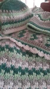 New Handmade Crocheted Baby Blanket Set