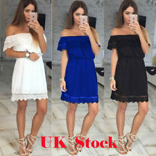Womens Lace Skater Dress Ladies Party Cocktail Prom Formal Off Shoulder Dresses