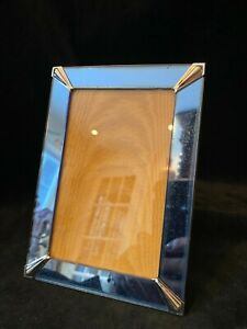 Original Deco Blue Mirror Photo Picture Frame