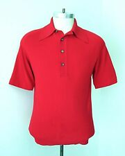 Vgc Vtg 60s Puritan Rat Pack Red Ban Lon Nylon Knit Polo Golf Shirt M