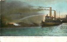 Hoboken Fire Dept New Jersey~Fire Boat in Action on North River~DL&W RR~1910