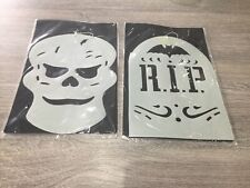 Halloween Hanging Skull And RIP Decorations X 3
