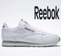 🔥 2019 GENUINE REEBOK CLASSIC LEATHER ® ( Men UK Sizes: 7.5 & 8.5 ) White Grey