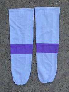 SP Edge Style Pro Stock Hockey Socks White Purple Cancer 7431