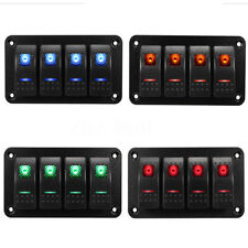 12V 24V 4 Gang Dual LED Light Bar Car Caravan Marine Boat Rv Rocker Switch Panel