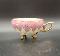 Vintage ROYAL SEALY Pink Luster 3 Footed Tea Cup GOLD / Pink  JAPAN