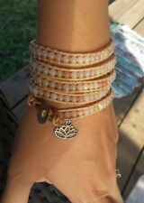 Wrap Bracelet Natural Aventirine Lotus Flower Peachy Nude Multilayer Leather