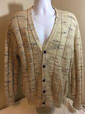 Pendleton Cardigan 100% Wool Sweater Medium Beige Speckled USA SEE CONDITION