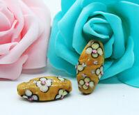 10pcs handmade Lampwork glass white flower on brown beads 15*28mm
