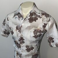 Vtg 60s 70s JOEL California Shirt POLYESTER Disco Hippy Floral Brown MENS MEDIUM