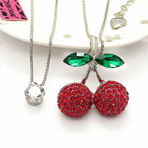 Cherry CZ Charm Betsey Johnson Red Crystal Double Pendant Sweater Chain Necklace