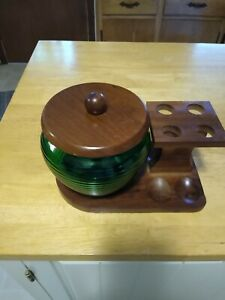 Vintage Tobacco Smoking Pipe Stand And Green Glass Humidor