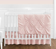 Sweet Jojo Solid Color Blush Pink Harper Shabby Chic Baby Girl Crib Bedding Set