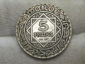 1933 (AH1352) Silver 5 FRANCS Morocco.  #22