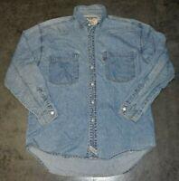 Levis Denim Long Sleeve Mens Button Down Shirt Blue Size M