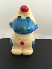 Rare vintage Smurf ILLCO Peyo Pre-school Toy Music Box 1982 Wind Up Toy 6 inches