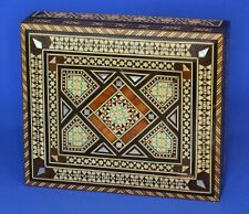 More details for vintage wooden carved inlaid box, india?, some loss 17x14x5 cm [21558]