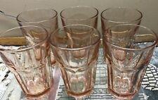 "VINTAGE LIBBEY DURATUFF PLUM PINK GIBRALTAR SET OF 6 DRINKING GLASS TUMBLER 5"""