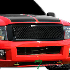 Topline For 2007-2014 Ford Expedition Mesh Front Hood Bumper Grill Grille - Blk