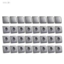 DELPHI Starter-Kit, Set 32-teilig 24x STECKDOSE 8x LICHTSCHALTER silber Schalter