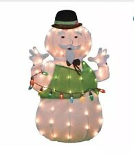 Lighted Tinsel Rudolph  Sam The Snowman Sculpture Outdoor Christmas Decor