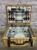 Picnic Time Woven Picnic Basket New Pier 1 Serving Wine Cheese Burgundy Set