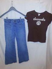 Girls Abercrombie Stretch 14 Denim Jeans And Cotton Shirt Outfit Sz XL EUC