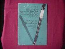 SHEET MUSIC TROPHY ELEMENTARY RECORDER METHOD BY TROPHY PAPERBACK 39 PAGE 1967