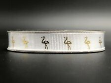 """NEW The Ribbon Boutique, White and Gold Flamingo Ribbon - 3/8"""""""