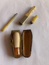 Vintage Cigar Cheroot Holder In Leather Case, Cigar Cutter Cigarette Holder