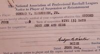 2 1940 Boise Baseball Notice of Suspension or Reinstatement Form for Sore Arm