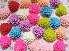 10 x 23mm Heart Resin Dahlia Flower Matt Flatback Embellishment Crafts Cabochon