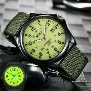 Mens Military Canvas Quartz Watch Fabric Gloss Analog Date Sports Wrist Watch