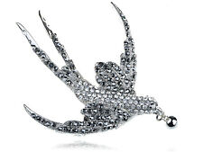 Clear Jet Hematite Crystal Rhinestone Silver Tone Flying Dove Bird Pin Brooch
