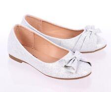 Silver Color Slip On Only Glitter Princess Kids Girls Dress Flats Youth Size 4